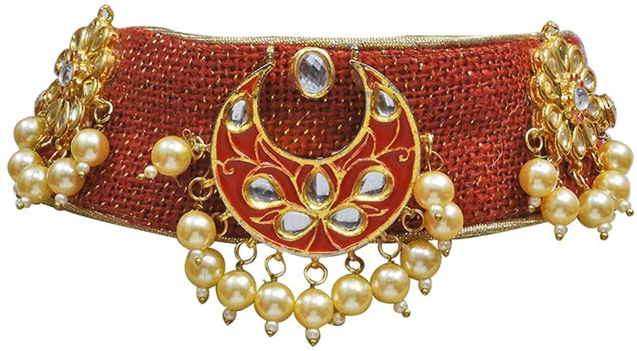 Babosa Sakhi Indian Ethnic Kundan Pearl Trendy Jute Red Choker Necklace Traditional Jewelry