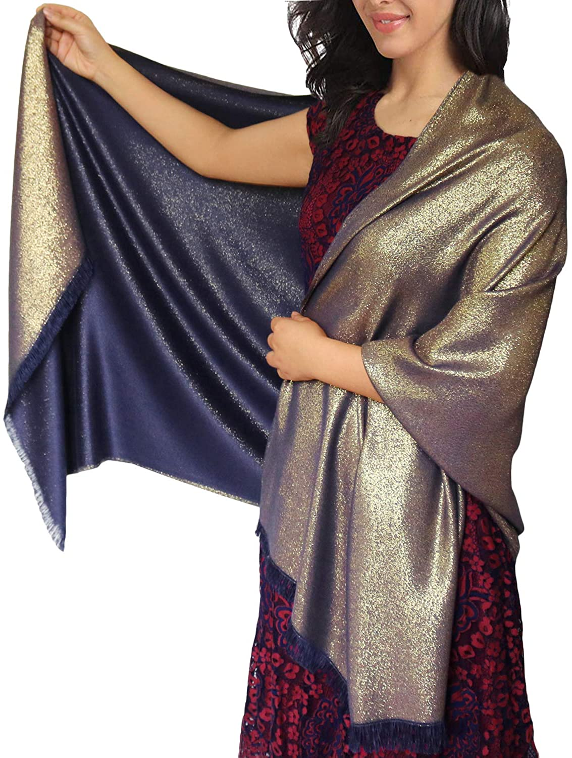 Thick Pashmina Scarves Sparkling Metallic 2 Side Color with fringe Evening Shawl