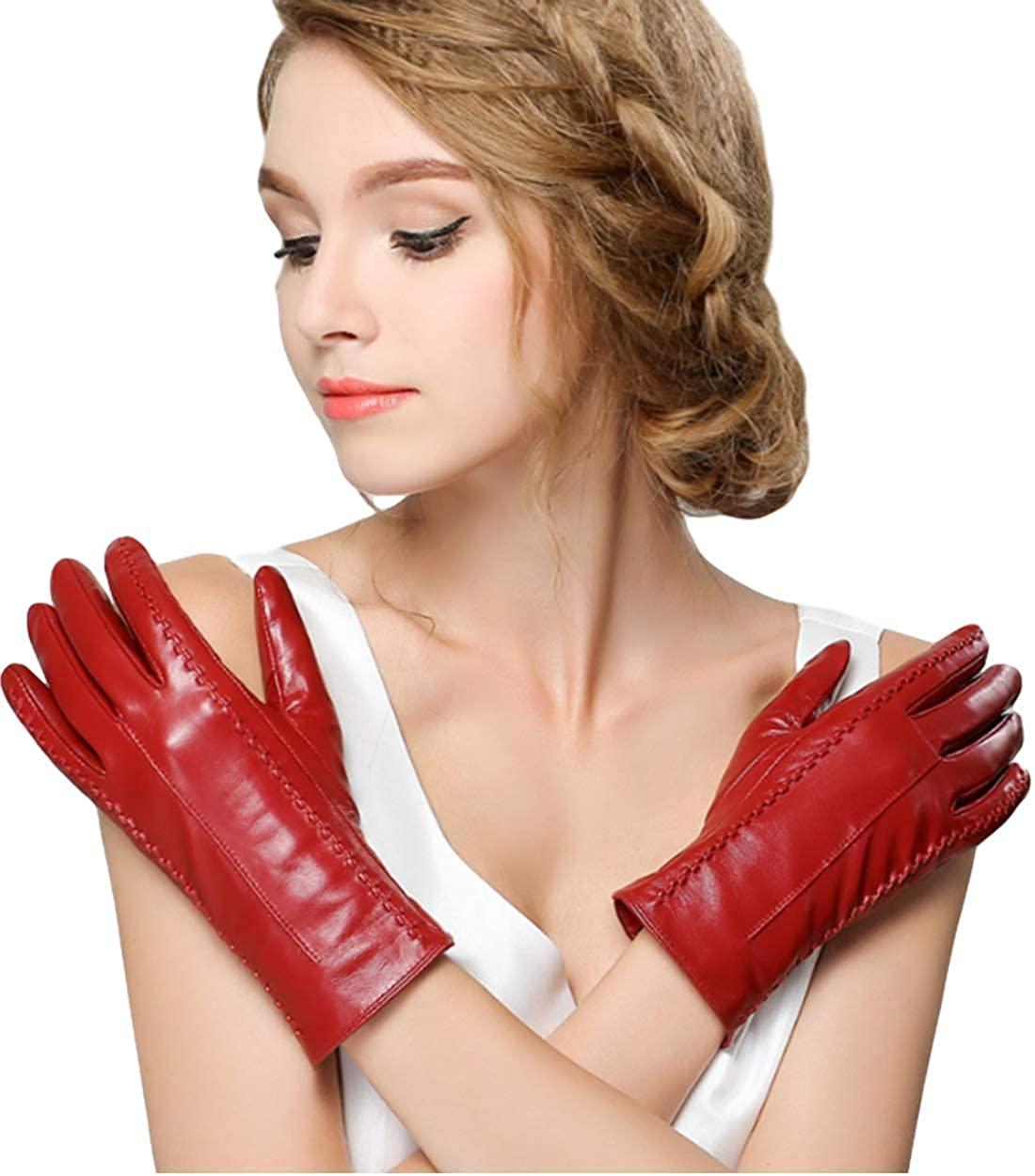 KAIROU Genuine Lambskin Leather Gloves for Women, Full Touchscreen and Velvet Lined