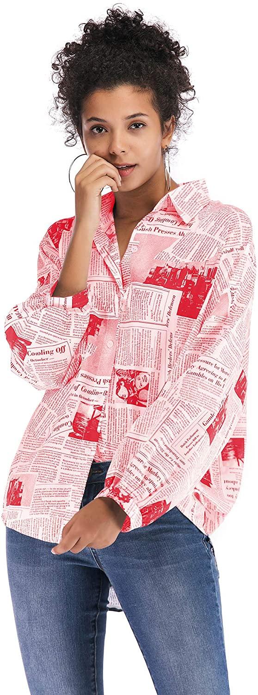 Women's English Letter Printed Newspaper Shirt Women's Wild Long Sleeve Shirt Top
