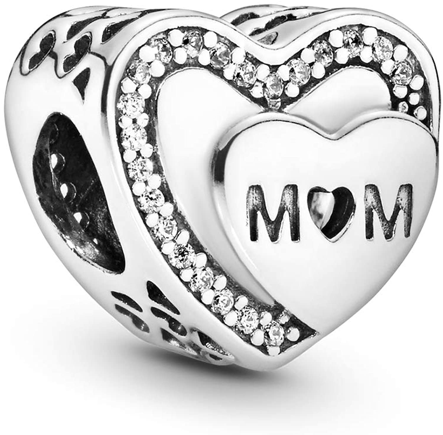 Pandora Jewelry Sparkling Mom Heart Cubic Zirconia Charm in Sterling Silver