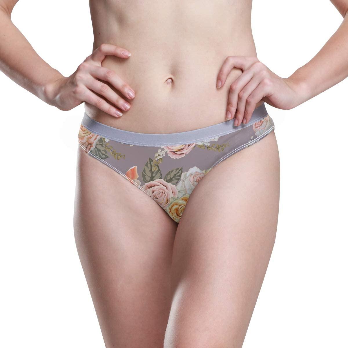 Womens Underwear Hipster Panties Rose Seamless Pattern Retro Styles Ladies Hi Cut Bikini Cheeky Panty