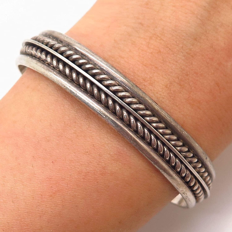 925 Sterling Silver Vintage Coil Design Cuff Bracelet 6.5