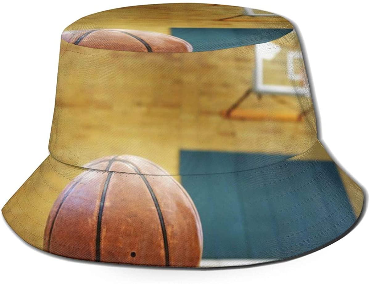 Bucket Hat Packable Reversible Ball On Basketball Court Print Sun Hat Fisherman Caps for Men Women Black