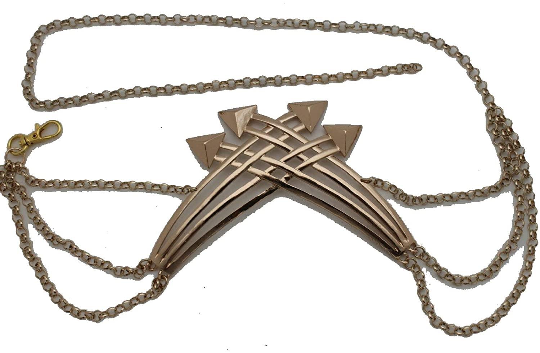 TFJ Women Fashion Metal Chains Belt High Waist Hip Arrows Buckle Charm XS S M Gold