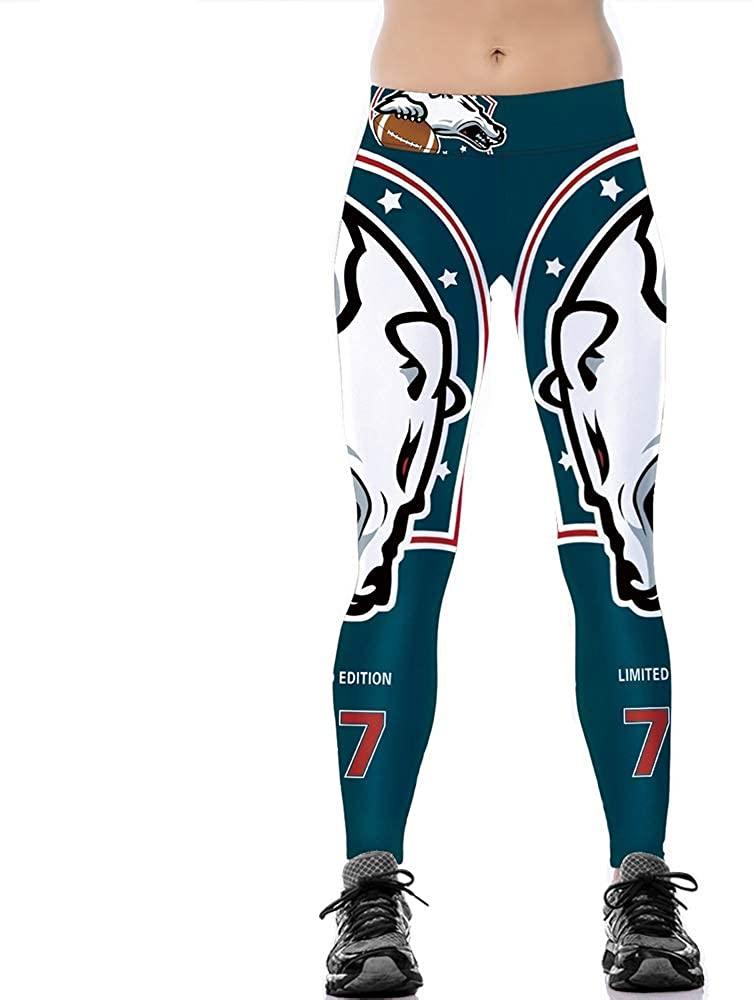 JJCat Women's High Waist 3D Digital Print Casual Fashion Denver Broncos Tight Legging Pants
