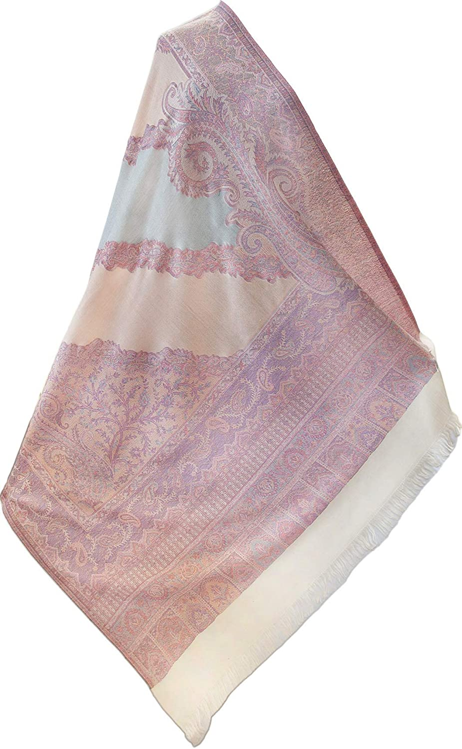 "Pastel Dusty Rose Soft Wool Jamavar Shawl. 80""x 40"" Moghul Paisley Pashmina Wrap"