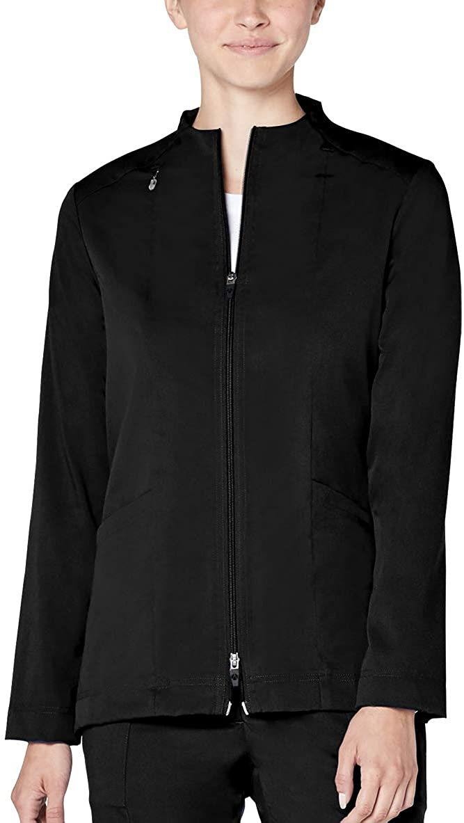 Adar Pro Scrubs for Women - Tailored Funnel Neck Scrub Jacket - P7200 - Black - 2X