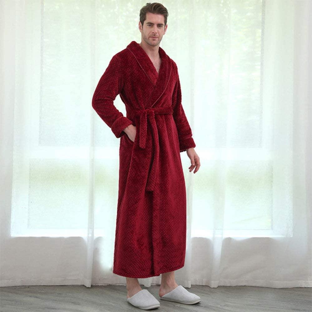 llwannr Bathrobe Robe Nightgown Sleep,Women Winter Extra Long Thick Grid Flannel Bath Robe Soft Sexy Warm Dressing Gown Men Bathrobe Bridesmaid Wedding Robes,Wine Men,L