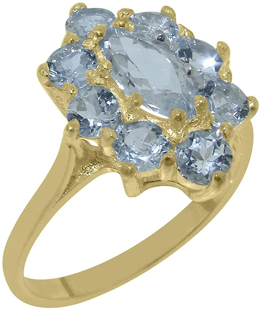 9k Yellow Gold Natural Aquamarine Womens Promise Ring - Size 7.75