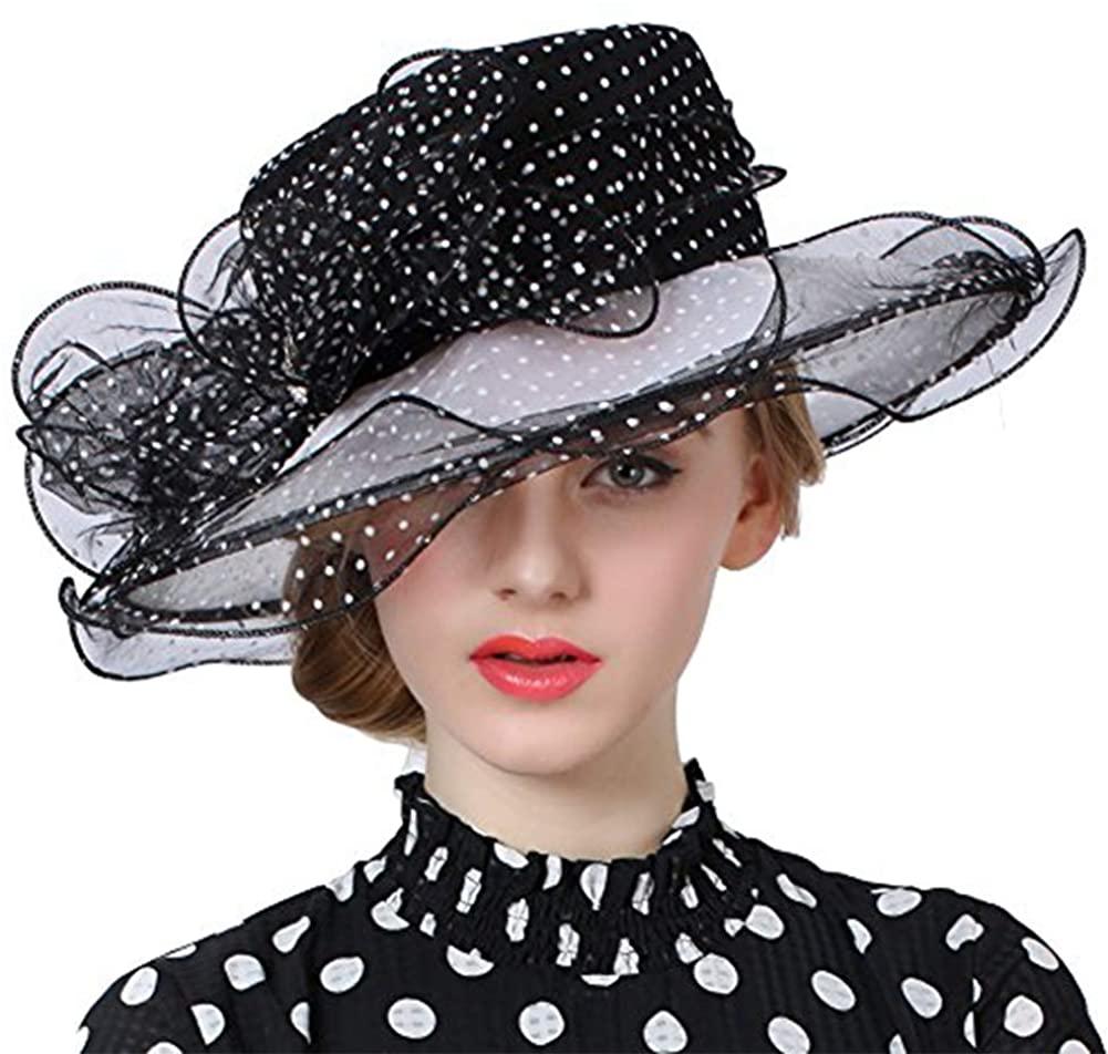 June's Young Women Hats Organza Lace Polka Dot Black White Derby Hat Wedding Wide Brim