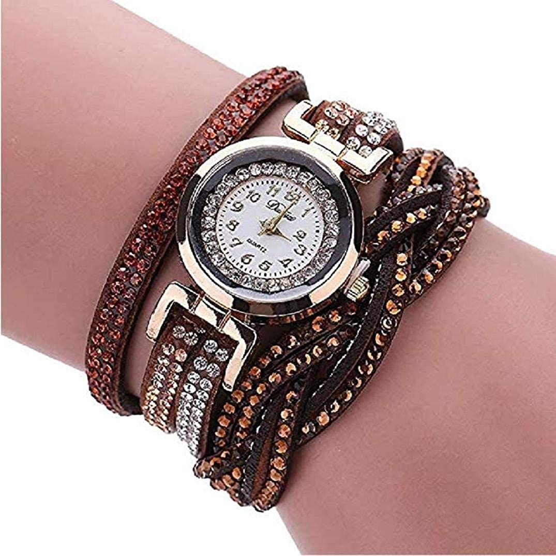 TOPOB Women's Bracelet Watch, Fashion Handmade Rhinestone Leather Winding Strap Small Dial Quartz Wrist Watch