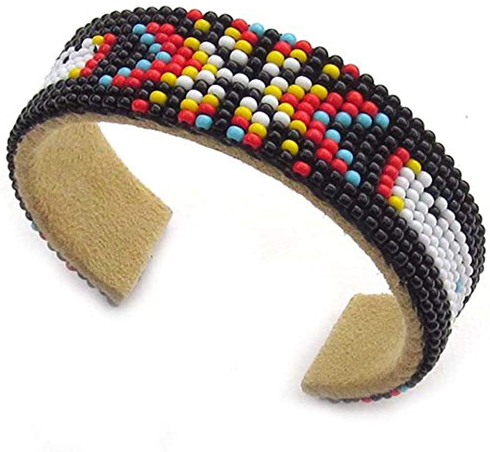 Handmade Beaded Indian Fashion Jewelry Black Red Butterfly Beaded Cuff Bracelet B53/8 Multi color