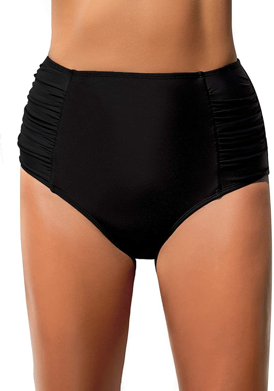 REKITA Women High Waisted Bikini Bottoms Ruched Swim Brief Short Tankinis