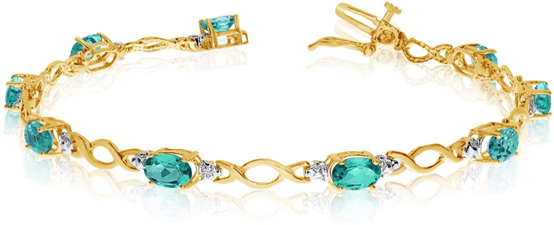 10k Yellow Gold Oval Emerald Stones And Diamonds Tennis Bracelet, 7