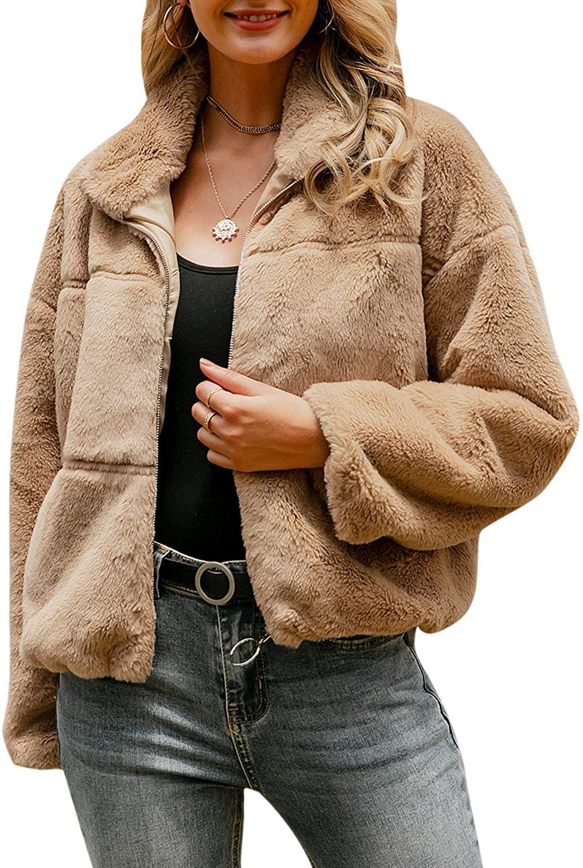 BerryGo Womens Long Sleeve Faux Fur Coat Shaggy Oversized Coat Jacket with Pockets Warm Winter
