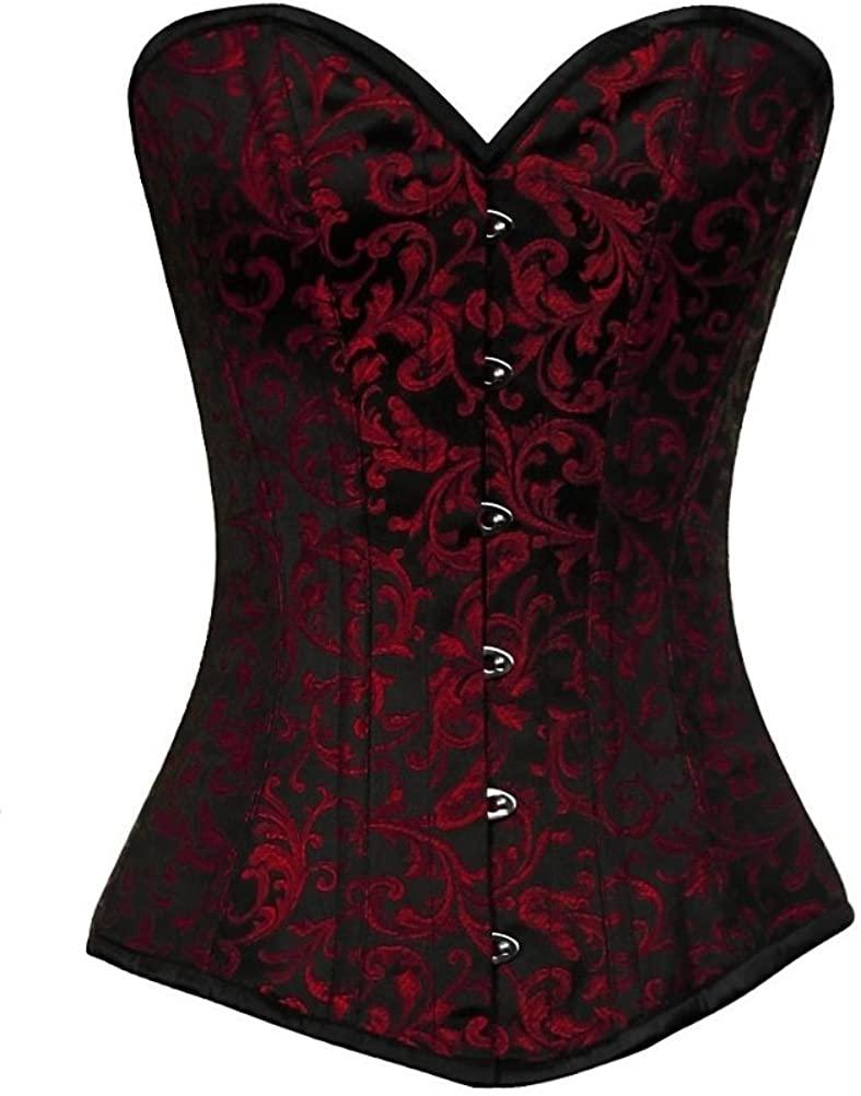 Red Black Brocade Waist Training Bustier Goth Steampunk Long Overbust Corset Top