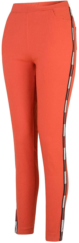 LOTMART Women Denim Jeggings Elasticated Waist Full Length in Dark Orange L/XL (EU40/42 UK12/14 US8/10)