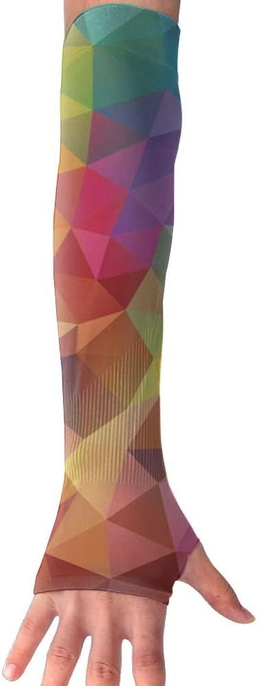 MASDUIH Color Diamond Pattern Gloves Anti-uv Sun Protection Long Fingerless Arm Cooling Sleeve For Men And Women