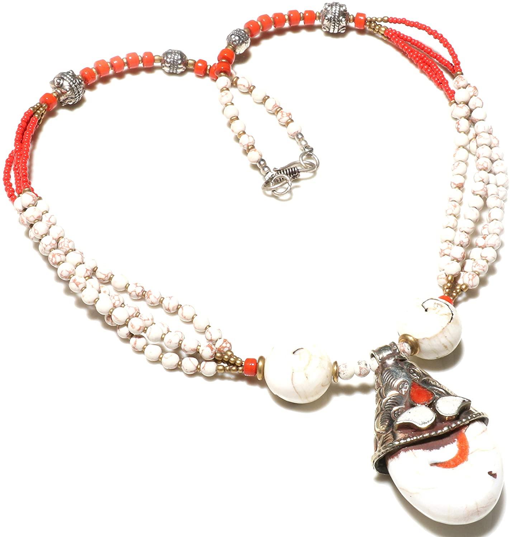 TIBETAN SILVER BEAUTIFUL HANDMADE MULTI STRAND CORAL TURQUOISE TIBETAN SHELL BEADS/NAGA CONCH GEMSTONE FASHION NECKLACE ETHNIC GYPSY TRIBAL BOHO OXIDIZED SILVER NECKLACE FOR WOMAN