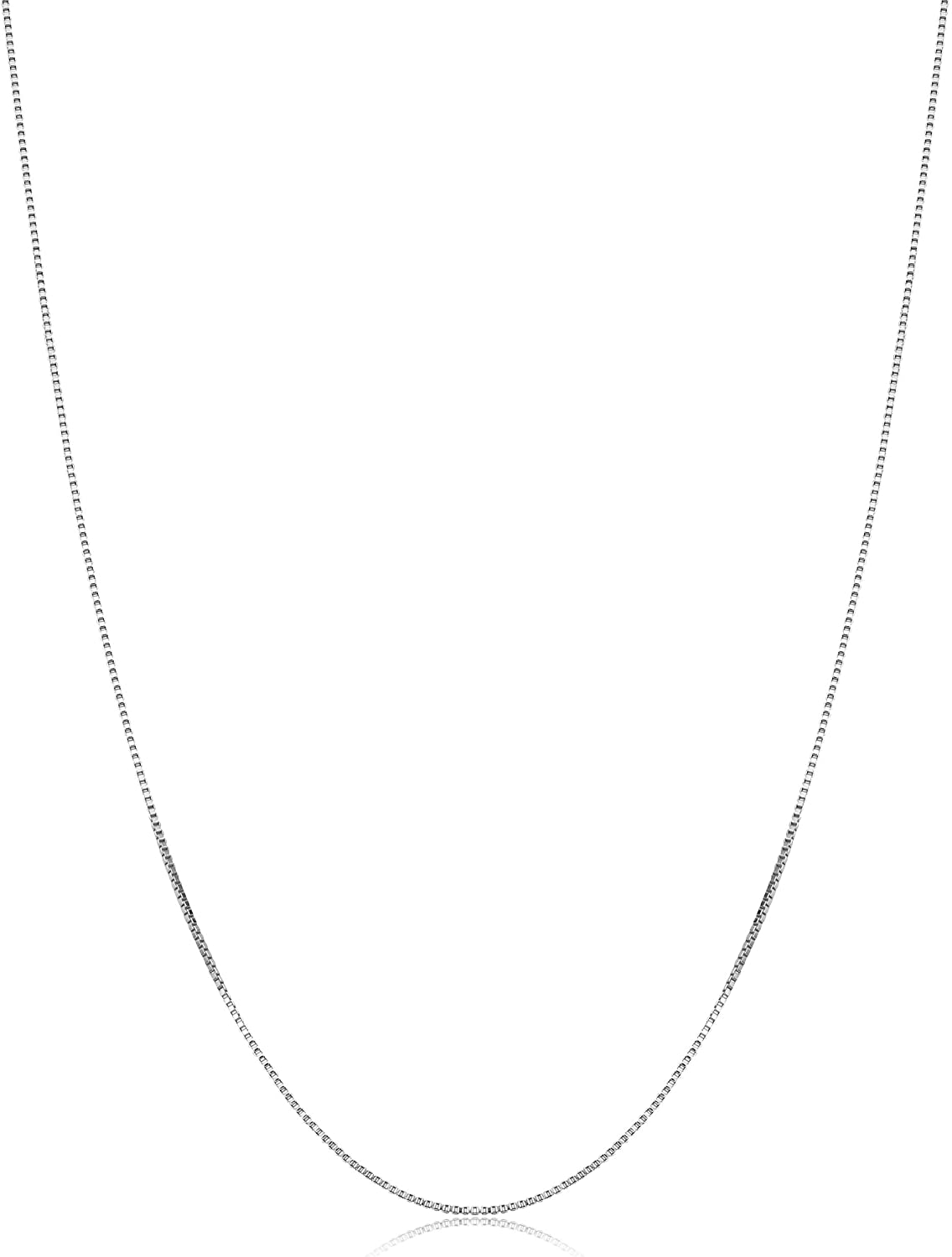 KoolJewelry Sterling Silver Box Chain Necklace For Women 16-30 Inch (0.8 mm, 0.9 mm or 1 mm)