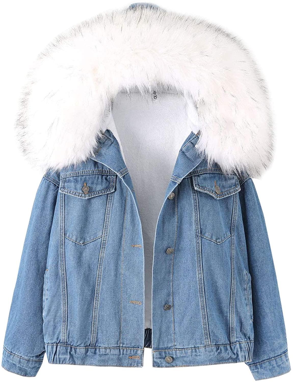 Flygo Women's Oversized Warm Sherpa Lined Faux Fur Hooded Denim Jacket Jean Coat