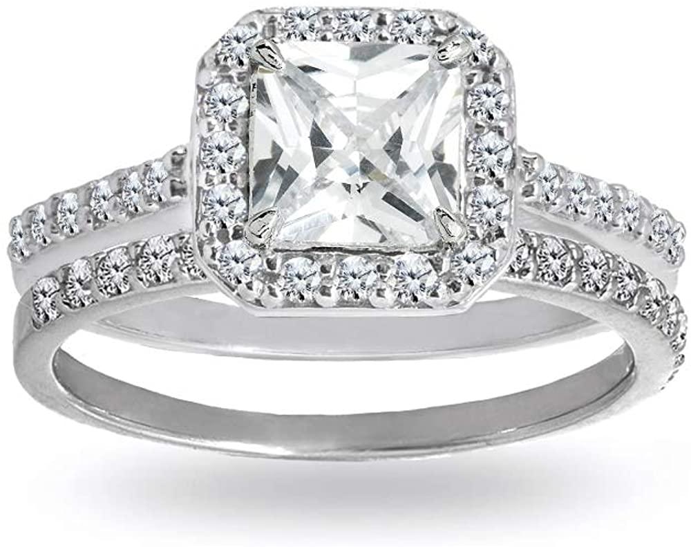 Sterling Silver Cubic Zirconia Princess-cut Halo Bridal Wedding Band Engagement Ring Set