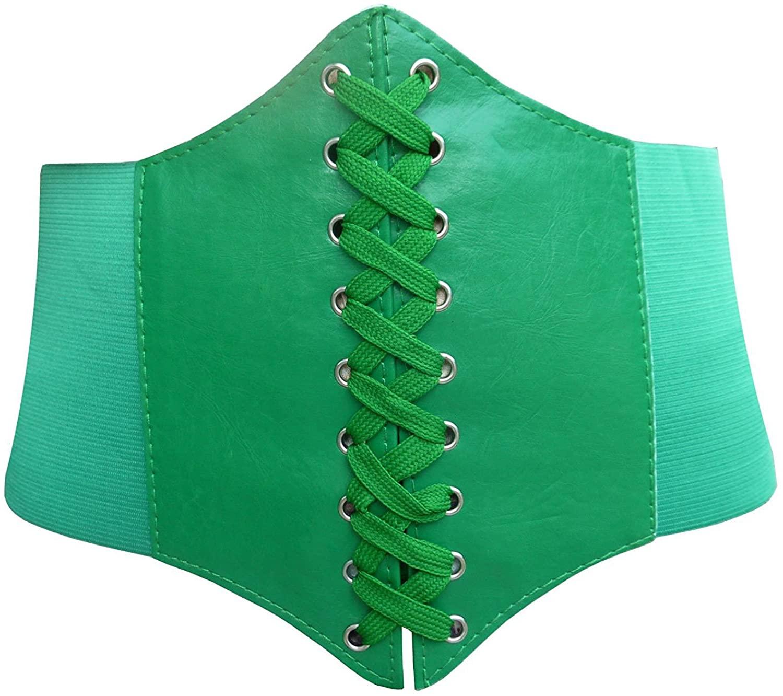 Blidece Faux Leather Steampunk Elastic Wide Band Underbust Waist Belt Corset