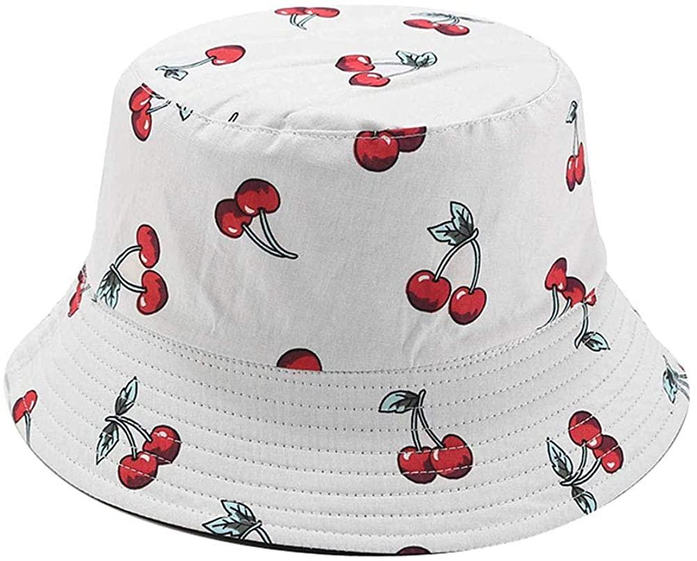 DQCUTE Unisex Unique Print Travel Bucket Hats Summer Double Sides Packable Reversible Fisherman Cap
