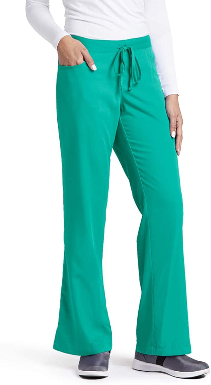 Grey's Anatomy Women's Junior-Fit Five-Pocket Drawstring Scrub Pant - Small - Tropic Jade