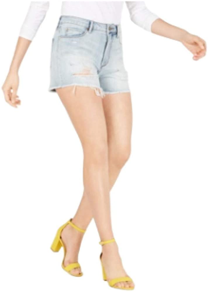 Articles of Society Meredith Ripped Cotton Cutoff Shorts-25-BLUE