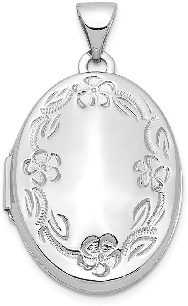 14k White Gold 21mm Oval Leaf Floral Scroll Border H/Eng Locket Pendant