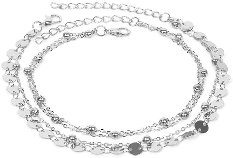 HENGSONG Boho Chain Anklet Beach Charm Anklet Ankle Bracelet Plated Silver 4pcs
