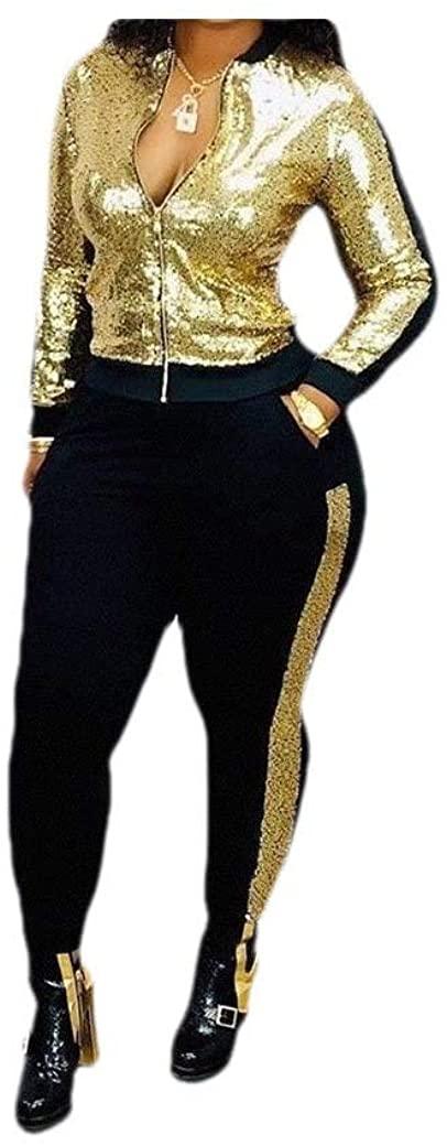 Losait Womens Pure Color Pocketed Slim-Fit 2 Piece Sequin Sport Sweat Suit Set