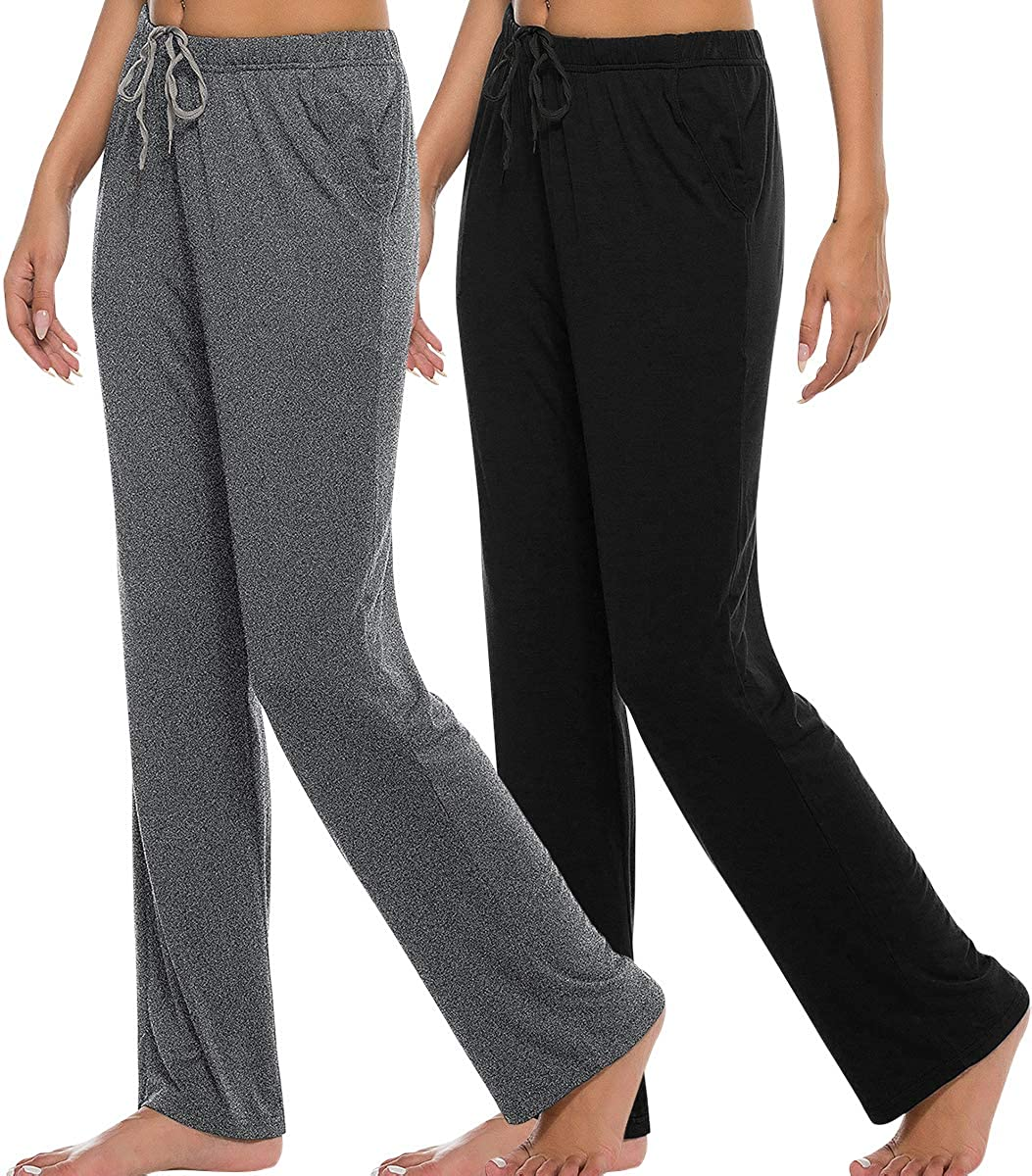 AIRIKE Women's Pajama Pants Elastic Waisted Lightweight Woven Lounge Pants Loose Fit Stretch Yoga Pants with Pockets, 2 Pack