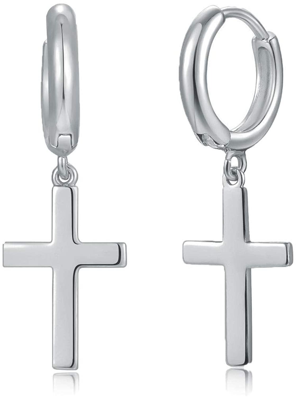 Fettero Huggie Earrings Gold Hoop Stud Ear Cuff Cross 14K Gold Plated Dainty Minimalist Simple Boho Hypoallergenic Small Jewelry Gift for Women