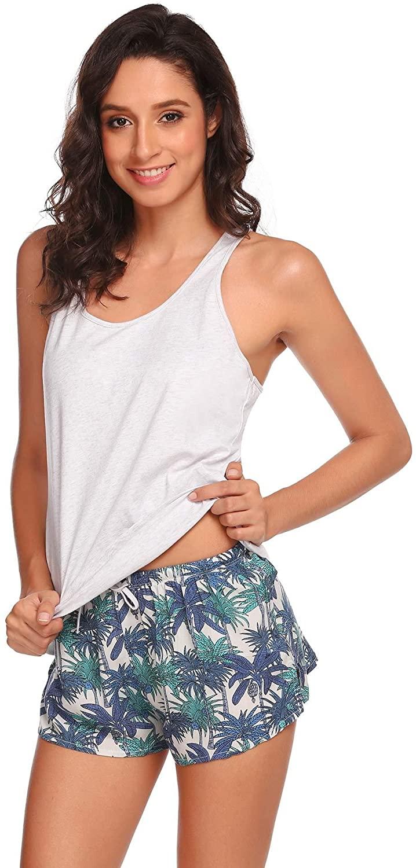 Ekouaer Womens Pajama Set 2 Piece Sexy Cami Shorts Sleepwear Nightwear S-XL