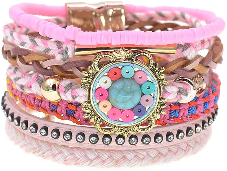 women bracelets Leather bracelets bohemia colorful beaded charm bracelets for women jewelry,pink,18cm