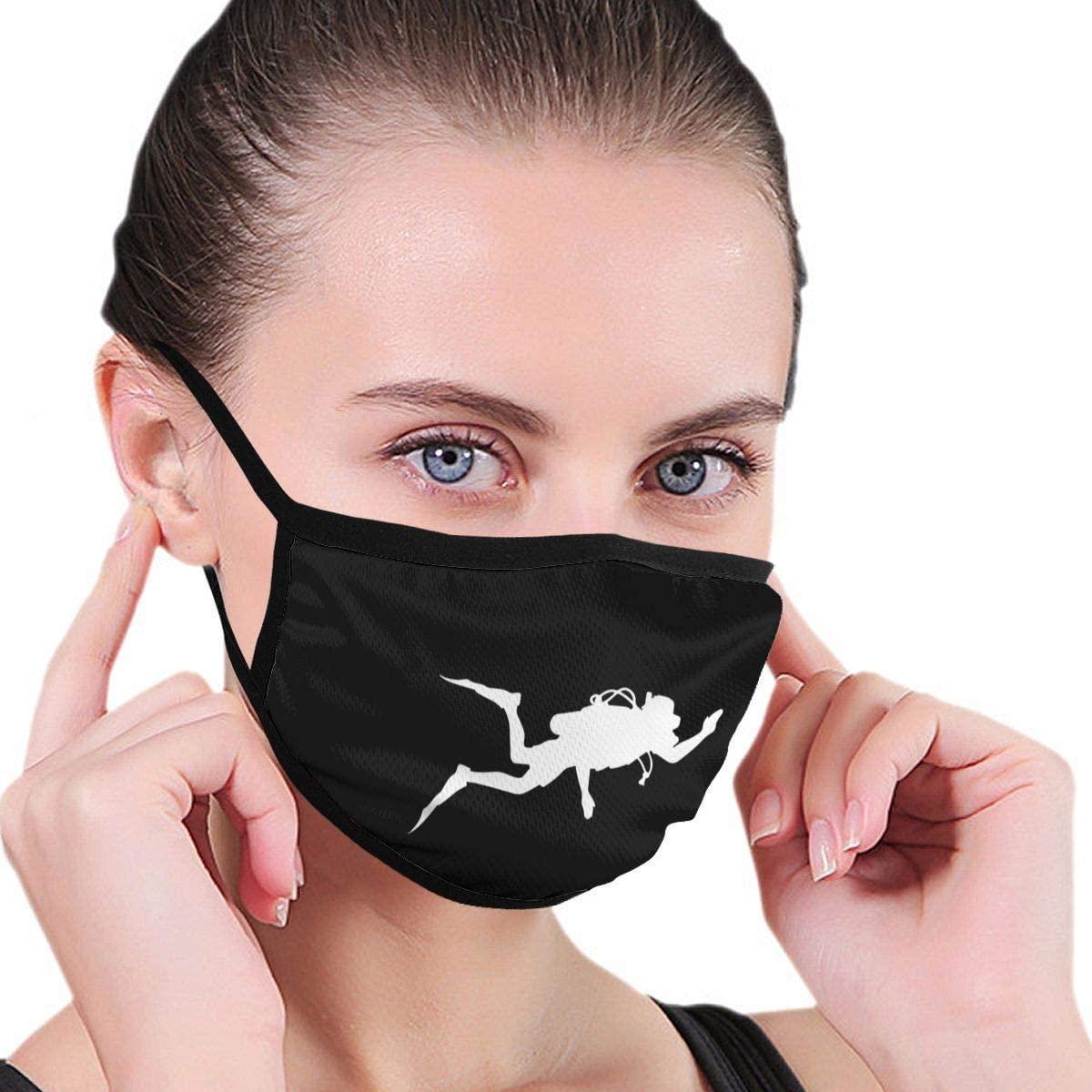BOKUTT Scuba Diving Unisex Washable Reusable Earhook Double Layer Nose Print Graphics Head Wrap Black
