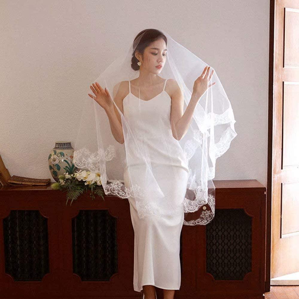 WEIFAN Bridal Wedding Veil - 1.5x2.5cm Lace Covered Wedding Veil, Cathedral Simple Style Wedding Travel Headpiece