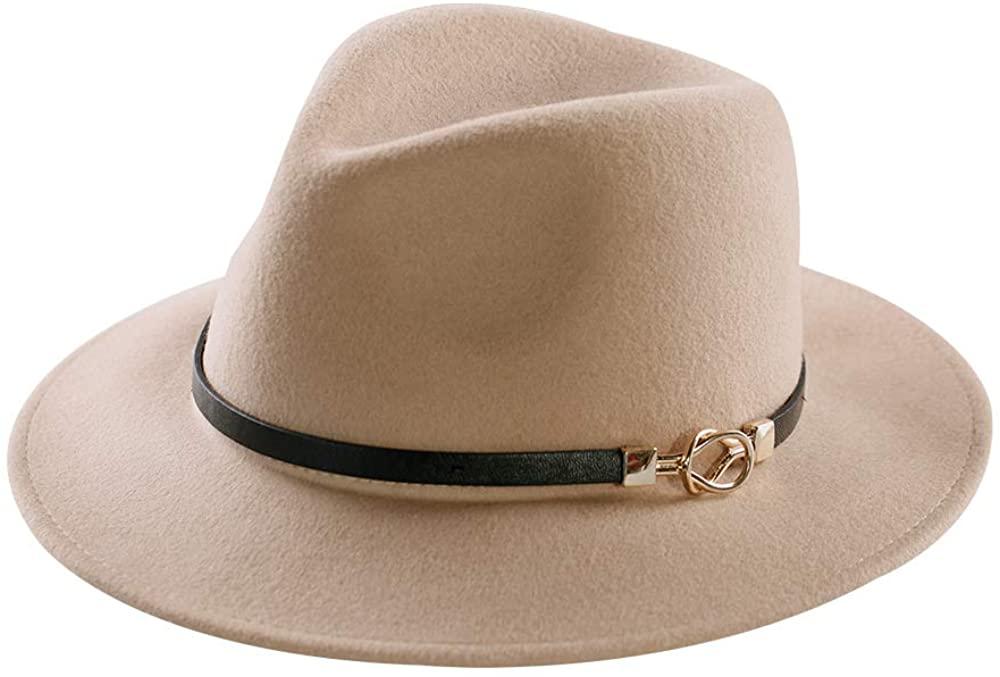 Womens Fedora Hat 100% Wool Wide Brim Felt Panama Sun Hats Vintage Trilby Cap with Buckle