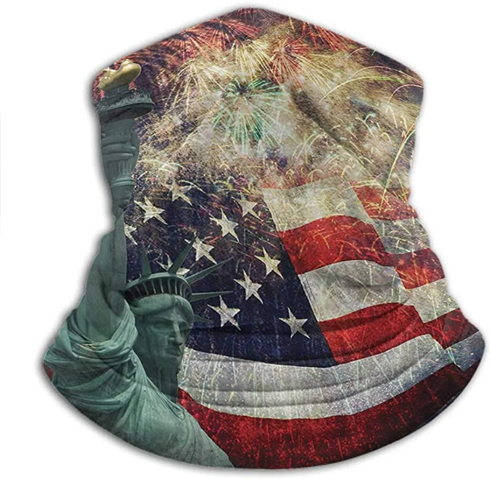 Hair Scarf American Flag Decor For Running, Skiing, Snowboarding Composite Photo of States Idols with Fireworks on Background 4th of July Multi
