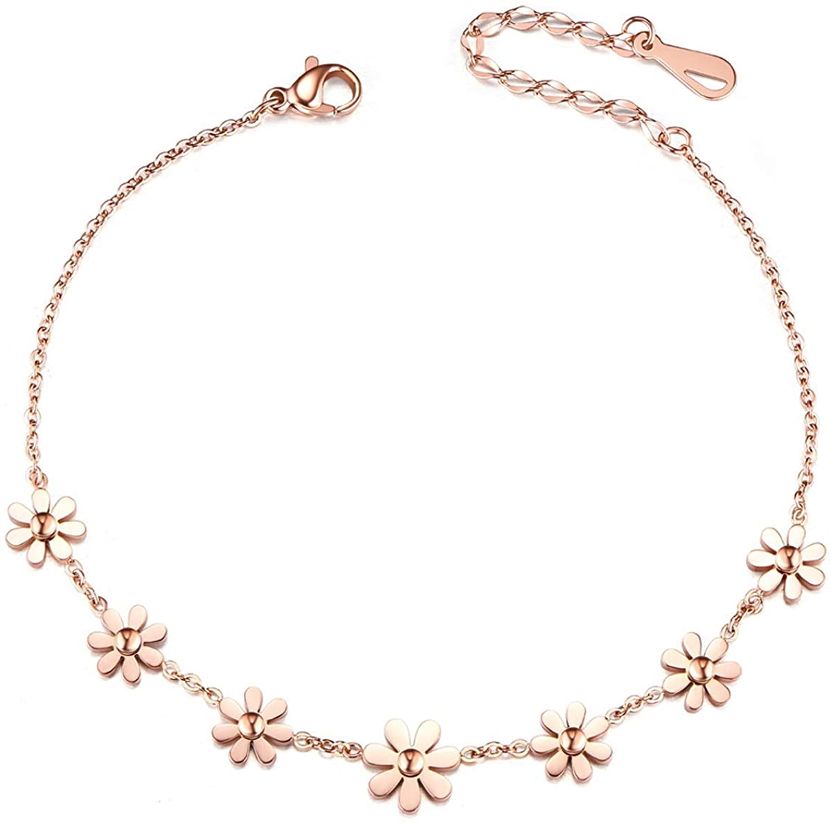 SHEGRACE Woman Stainless Steel Daisy Flowers Anklet Rose Gold Adjustable 200mm Jewellery Gift