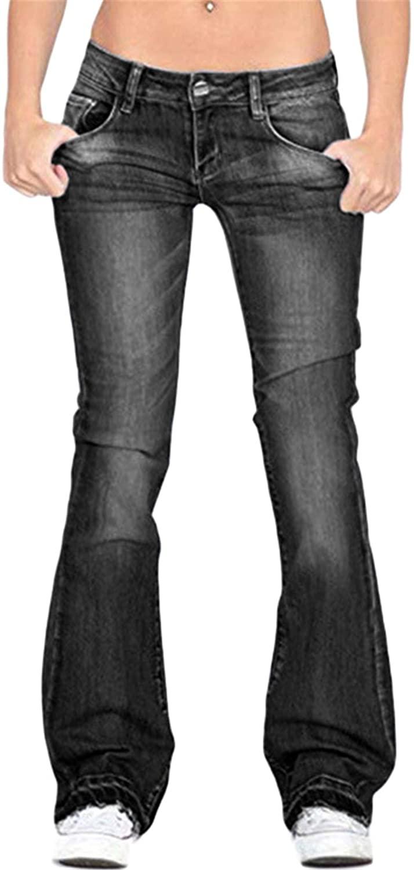 Andongnywell Mid Waist Juniors Womens Plus 70s Flared Bell Bottom Bootcut Denim Jeans Pants