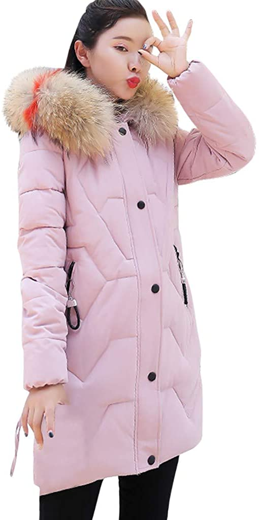 MOMKER Winter Coat Womens Puffer Down Jacket with Faux Fur Trim Hood Long Sleeve Quilted Parka Warm Padded Overcoat