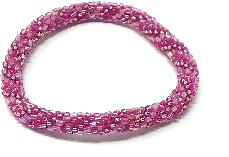 Wigspedia Crochet Glass Seed Bead Nepal Boho Bracelet - Pink