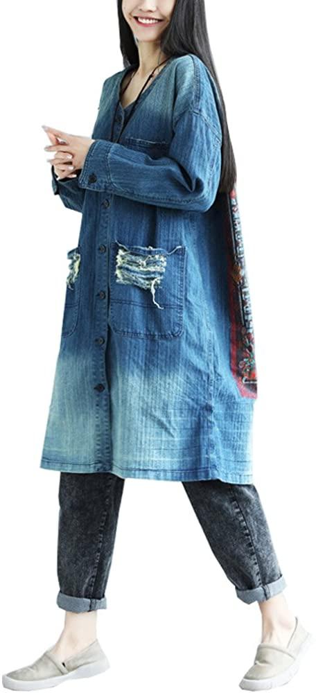 maydaiyar Casual Woman Coat Long Sleeve Denim Jacket Loose Print Korean Holes (Blue, Free Size)