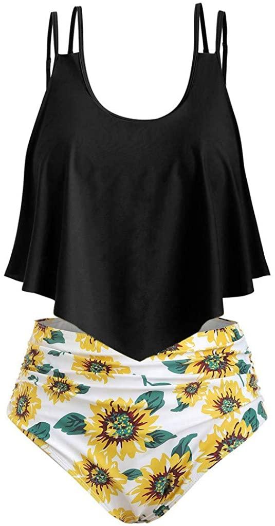 Hotkey Bikini for Women High Waisted Swimsuits Tummy Control Two Piece Tankini Ruffled Plus Size Bathing Suits Swimwear