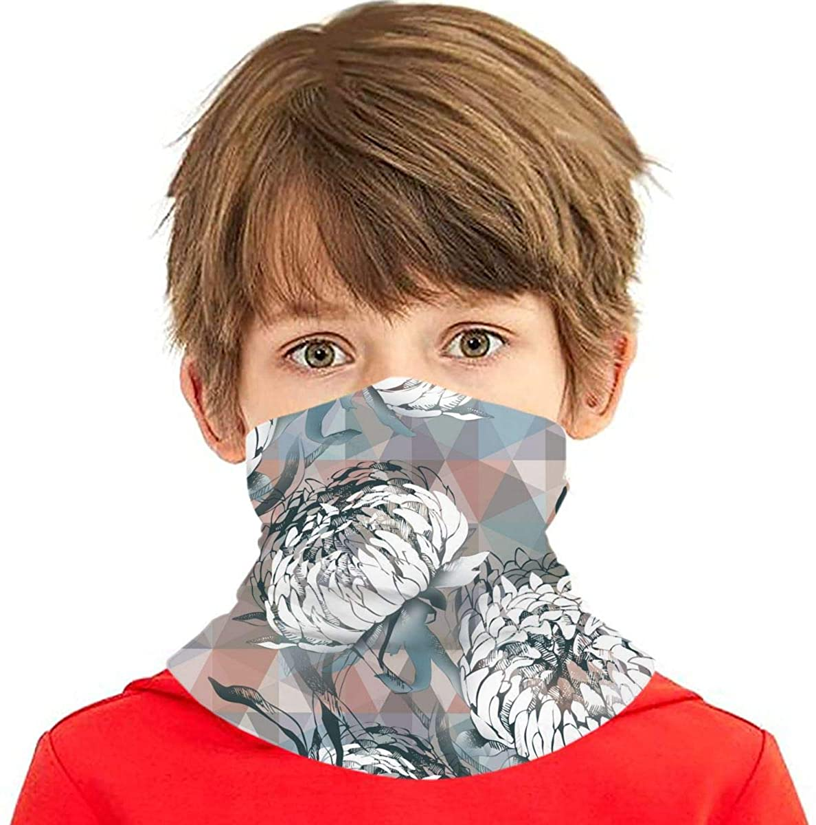 Youth Face Bandanas, White Chrysanthemum Reusable Face Mask Half Face Towel Mouth Cloth Facial Scarf Variety Headscarf