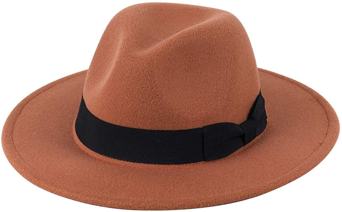 Lanzom Kids Girls Vintage Wide Brim Wool Felt Bowler Cap Bowknot Floppy Fedora Hat